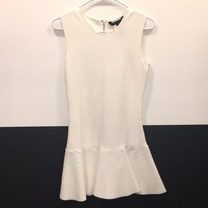 White BCBG fitted flounce dress